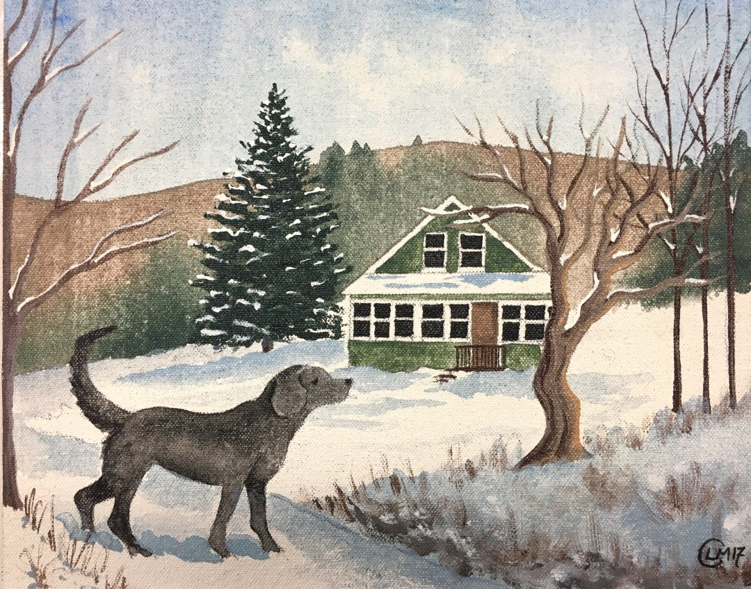 Paintings come from walks with my pups in the snow!
