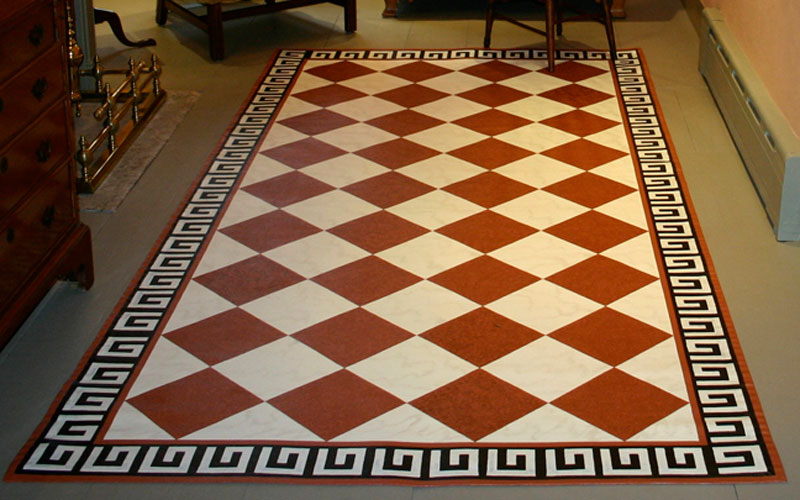 Floorcloth checks with decorative border