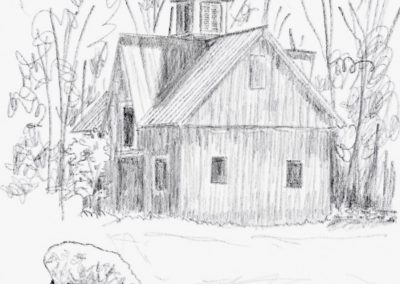 Cornish Barn Pencil Sketch