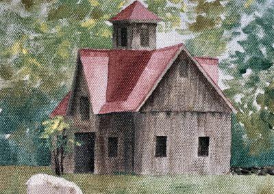 Cornish Barn Painting on board