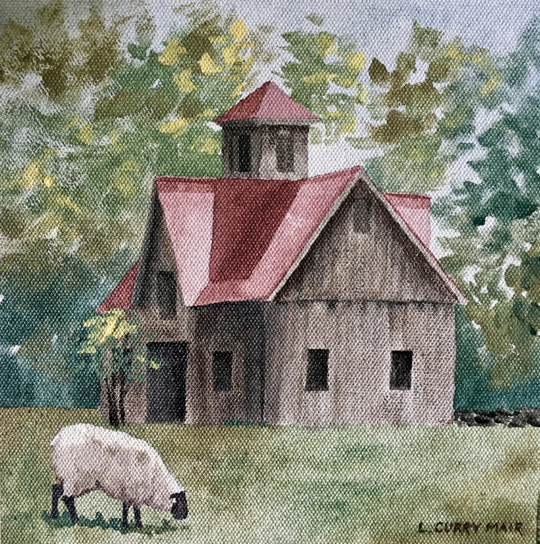 The beauty of a simple barn and a sheep.