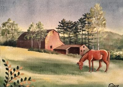 Rusty Barn and Chestnut Horse