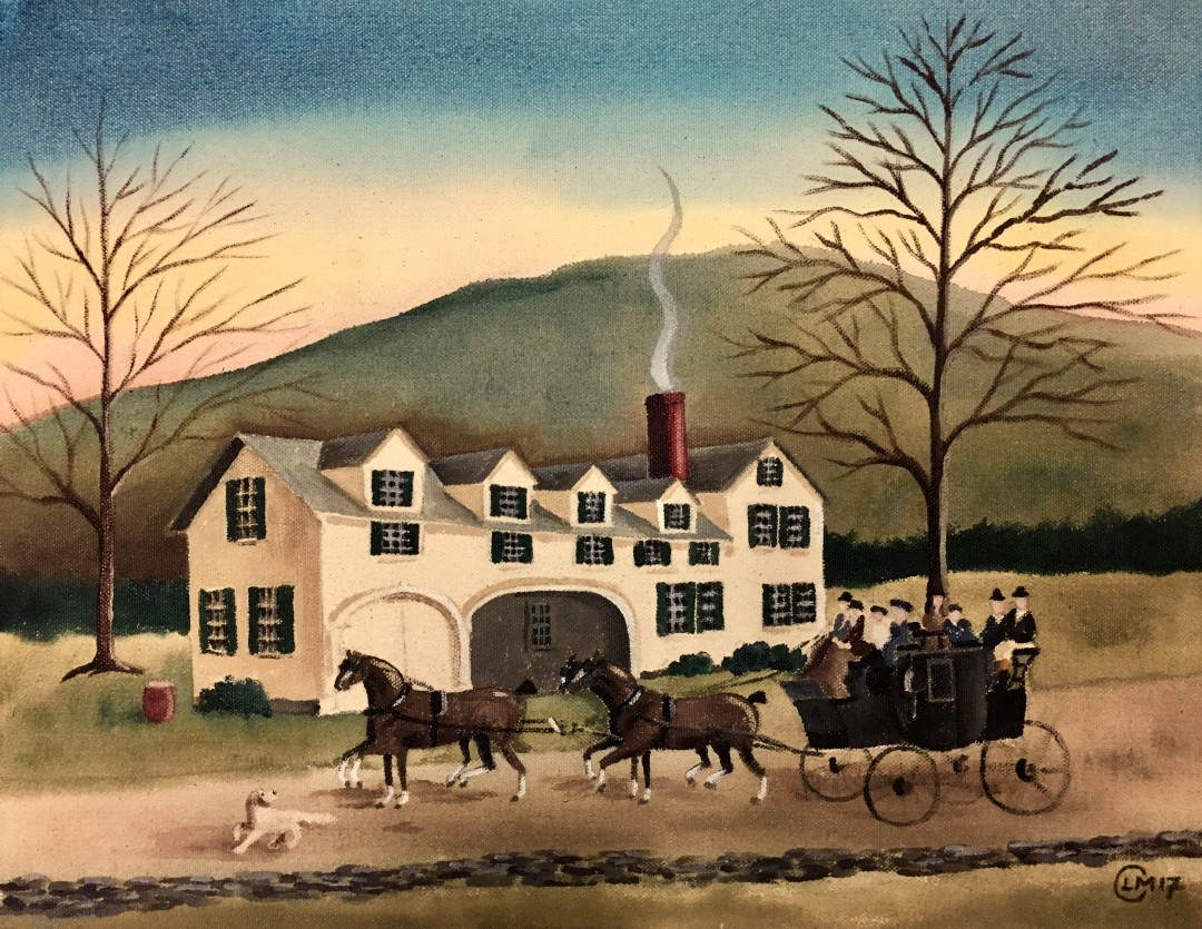 """To the Inn"" a Thanksgiving painting"